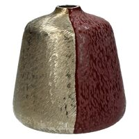 HALF MOON-Vase-Aluminium-Brushed gold-red leather-S-dia 18 x 19 cm