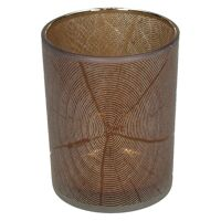 KIZAI - windlicht - glas - DIA 10 x H 12,5 cm - bruin