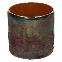 LORCA - windlicht - glas - DIA 10 x H 10 cm - raw brass