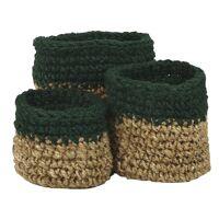 NOURIO - set/3 baskets - jute - DIA 22/27/32 x H 22/27/32 cm - green
