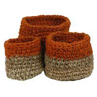 NOURIO - set/3 baskets - jute - DIA 22/27/32 x H 22/27/32 cm - orange