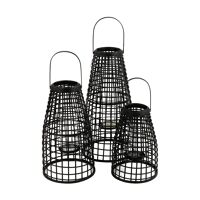SKAGEN - set/3 lanterns - bamboo / metal - DIA 27/30/33 x H 40/53/67 cm - black