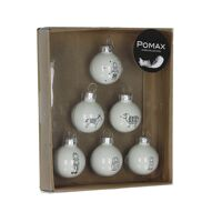 BETLEHEM - 6 x-mas balls - glass - white - Ø3 cm