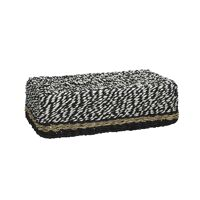 USHUAIA  - tissue box - paper / seagrass - L 27 x W 15 x H 9 cm - black/white