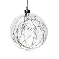 GLITTER - bulb with lightchain - glass / metal - DIA 20 cm - clear