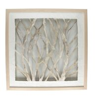 BRANCO - décoration murale branches - aluminium - L 61 x W 61 x H 4 cm - naturel