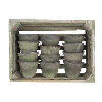 CRATZ  - S/12 flower pot with moss - earthenware - L 37 x W 14 x H 27,5 cm - anthracite
