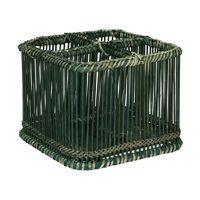 PRANA - cutlery basket - bamboo - L 19 x W 19 x H 15 cm - black