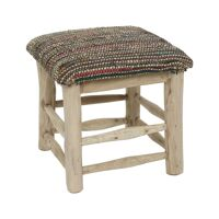 SPIKE - stool - teak wood / recycled fabrics - L 40 x W 40 x H 40 cm - multicolor
