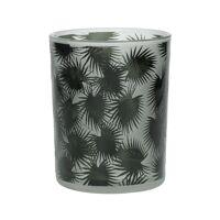 TROPICAL - windlicht - glas - DIA 10 x H 12,5 cm - groen
