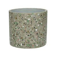 TERRAZZO - pot de fleur - terrazzo - DIA 14 x H 13 cm - gris