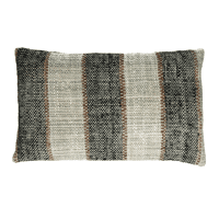 SHIKHA - cushion - stripes - linen / viscose - L 30 x W 50 cm - black