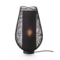 PALINE - lampe de table - métal / MDF - DIA 29 x H 50 cm - noir