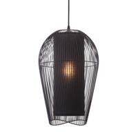 PALINE - hanglamp - metaal / MDF - DIA 29 x H 47 cm - zwart