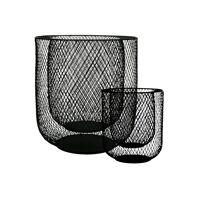 KABU - set/2 windlichten - ijzer - DIA 19/29 X H 22/32 cm - zwart