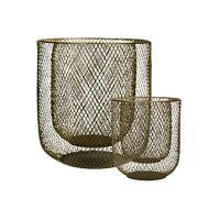 KABU - set/2 windlichten - ijzer - DIA 19/29 X H 22/32 cm - goud