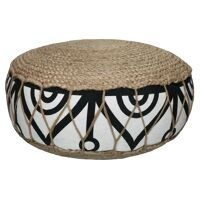 HAMMAM - pouf - jute / cotton - DIA 50 x H 25 cm - black/white