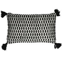 JANEA - cushion - cotton - L 50 x W 30 cm - black/white