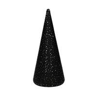 NORI - kerstboom m/led - batterij - glas - DIA 9,5 x H 22 cm - zwart