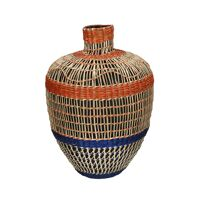 ZULOU - vase - bamboo / seagrass - DIA 26 x H 36 cm - mix of colours