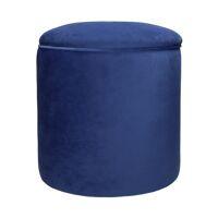 MUCHA - ottoman - velvet / polyester - DIA 38 x H 43 cm - blue