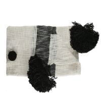 MARRAKECH - throw - cotton - L 170 x W 130 cm - black/white
