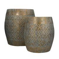 TARIFA - set/2 stools - metal - DIA 30/38,5 x H 33/42 cm - gold