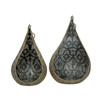 TARIFA - set/2 t/light holders - iron / glass - L 14/17 x W 13/15 x H 24/27 cm - gold