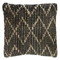 CAPRI - cushion - jute / cotton - L 45 x W 45 cm - natural/black