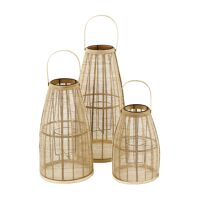 SKAGEN - set/3 lanterns - bamboo - DIA 27/30/34 x H 40/53/67 cm - natural