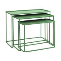 CENTURY - set/3 coffee tables/side tables - metal - L 44/50/56 x W 23/27/31 x H 35/41/45 cm - green