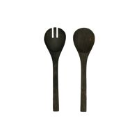 KERF - set/2 spoon + fork - mango wood -  - L 32 x W 8 x H 1,5 cm - black