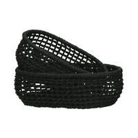OSTERIA - set/2 oval bread baskets - paper - L 20/23 x W 12/15 x H 8 cm - black