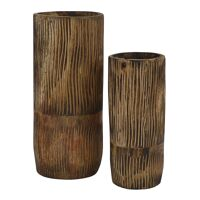 ZEBRA - set/2 vases - paulownia wood - DIA 22/28 x H 50/65 cm - natural