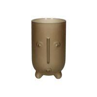 MASK - vase - verre - DIA 12 x H 20 cm - brun