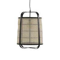 MIEN - lampe suspendue - bambou / lin - DIA 40 x H 56 cm - noir