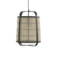 MIEN - hanging lamp - bamboo / linen - DIA 40 x H 56 cm - black