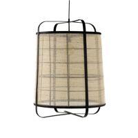 MIEN - lampe suspendue - bambou / lin - DIA 60 x H 80 cm - noir