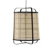 MIEN - hanging lamp - bamboo / linen - DIA 60 x H 80 cm - black