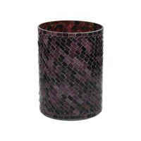 ALHAMBRA - photophore - verre mosaïque - DIA 16 x H 20 cm - aubergine