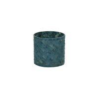 ALHAMBRA - photophore - verre mosaïque - DIA 10 x H 10 cm - gris bleu
