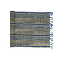 CARCASSONNE - chemin de table - jonc de mer / coton - L 140 x W 40 cm - bleu