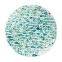 PESCADO - deco plate - mdf / mother of pearl - DIA 32 x H 0,5 cm - blue