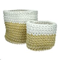 ERIMOS - set/2 baskets - cotton - DIA 22/30 x H 22/30 cm - yellow