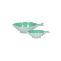 PESCADO - set/2 bowls - aluminium / enamel - L 12/18 x W 9/13 x H 3/5 cm - aqua
