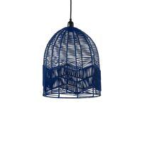 CYPRUS - hanging lamp - rattan / metal - DIA 35 x H 40 cm - dark blue