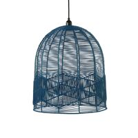 CYPRUS - lampe suspendue - rotin / métal - DIA 45 x H 50 cm - gris bleu