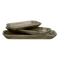 RIMBU - set/3 plats - bambou - L 23/30/36 x W 11,5/12,5/13,5 x H 3/3,5/4 cm - naturel/noir