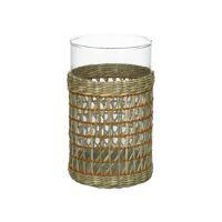 ZANZIBAR - photophore - verre / jonc de mer - DIA 12 x H 20 cm - jaune