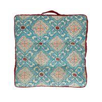 ZELLIGES - floor cushion - cotton / viscose - L 45 x W 45 x H 5 cm - blue